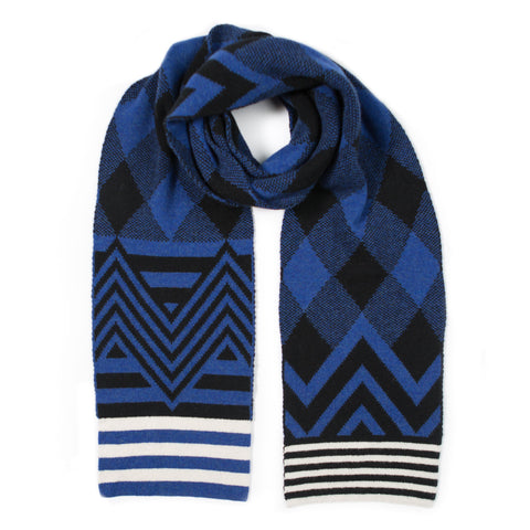 ARGYLE SCARF BLUE & BLACK