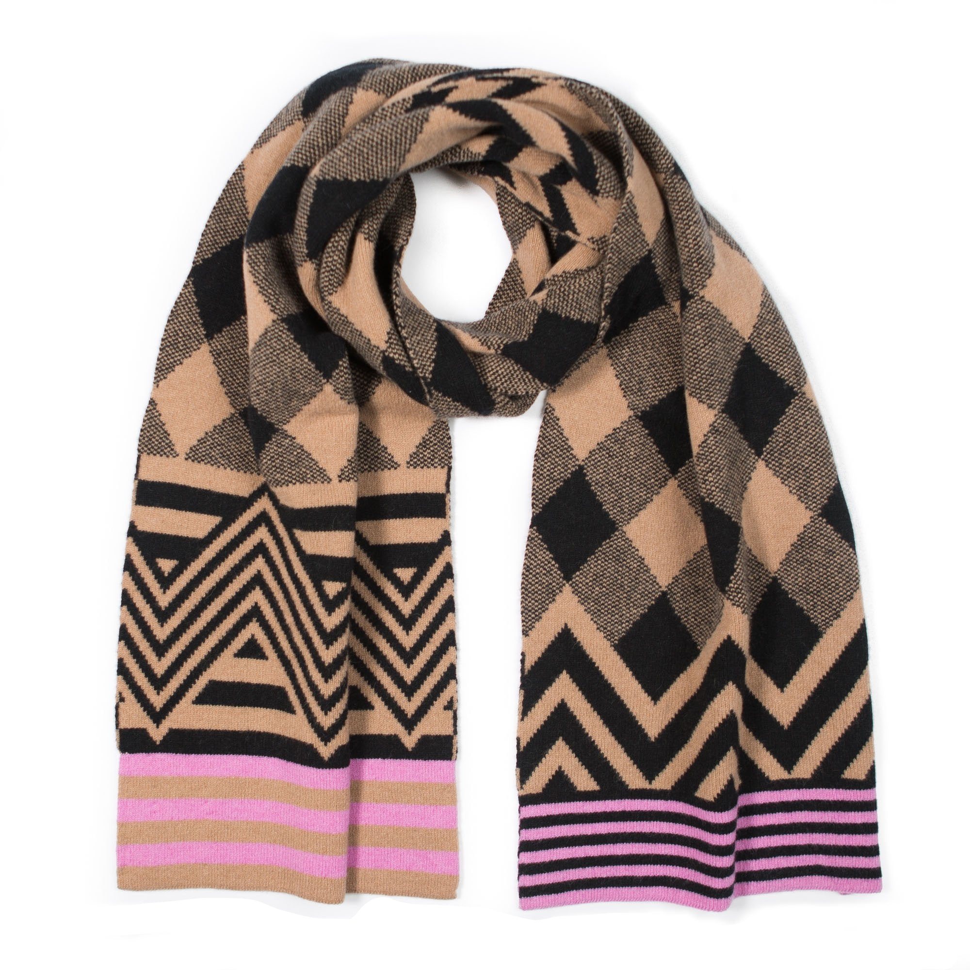 ARGYLE BLANKET SCARF CAMEL & BLACK - GREEN THOMAS