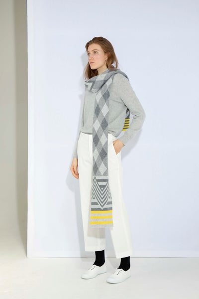 ARGYLE SCARF GREY & YELLOW