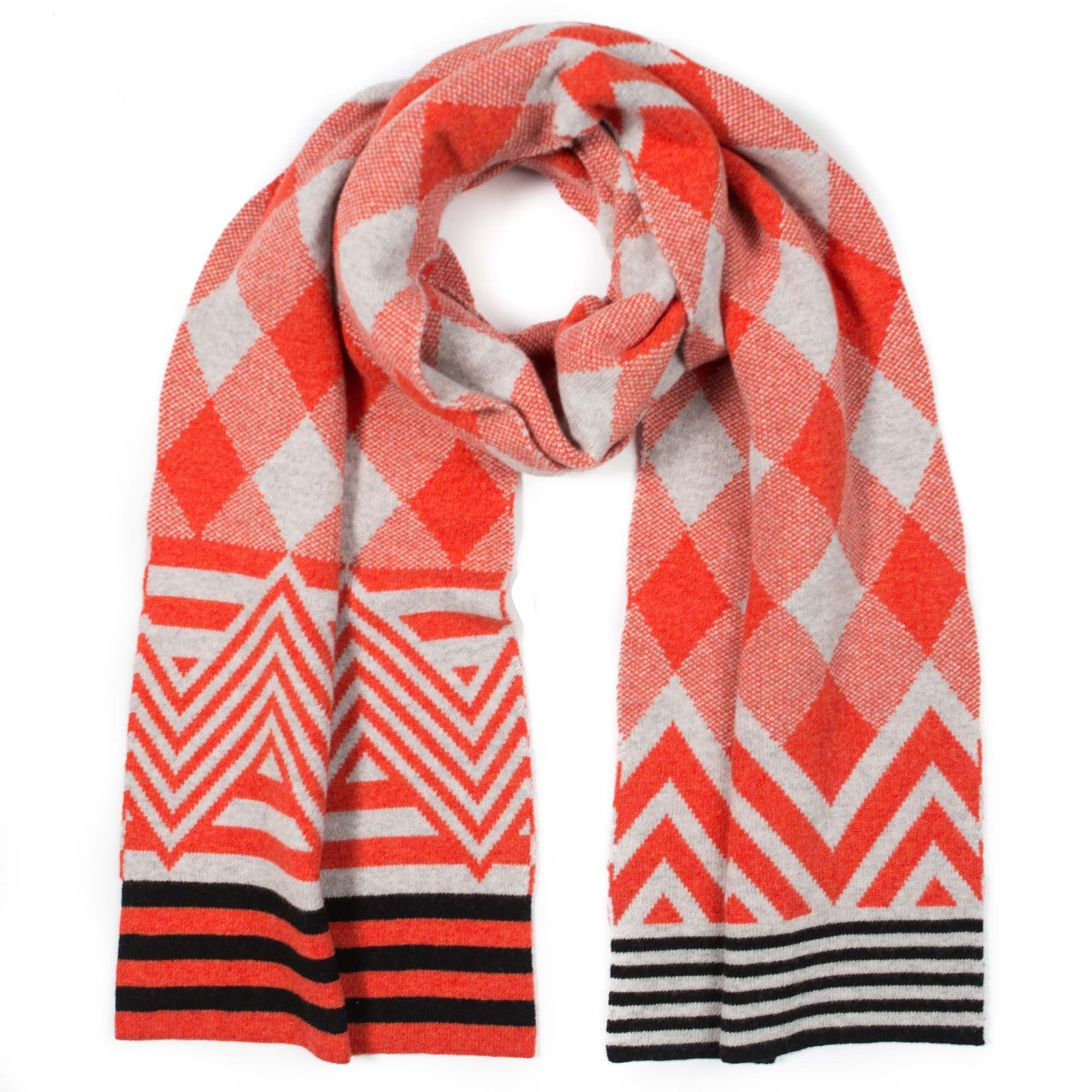 ARGYLE SCARF ORANGE & GREY - GREEN THOMAS