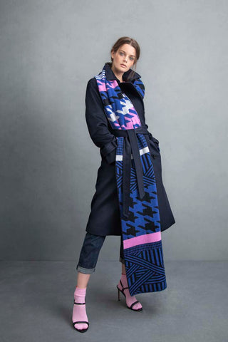 HOUNDSTOOTH BLANKET SCARF BLUE & BLACK