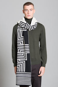 DECO BLANKET SCARF BLACK WHITE - GREEN THOMAS