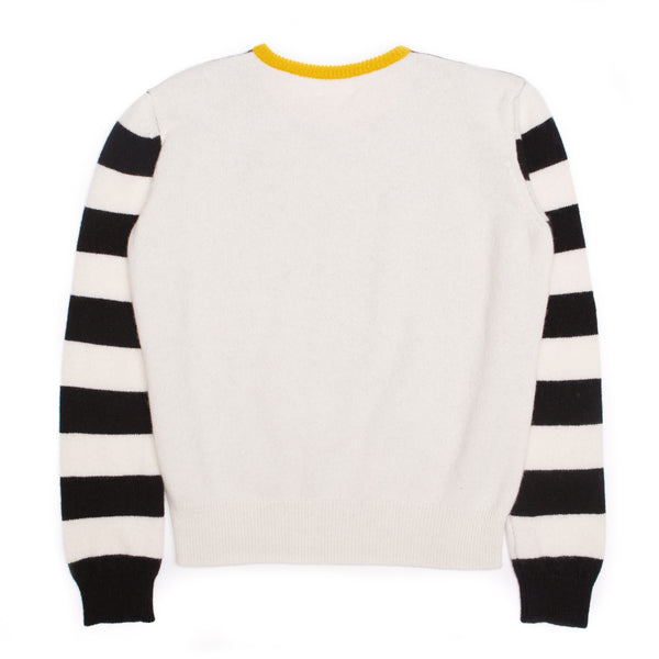 STRIPE HOUNDSTOOTH LOGO JUMPER BLACK & WHITE