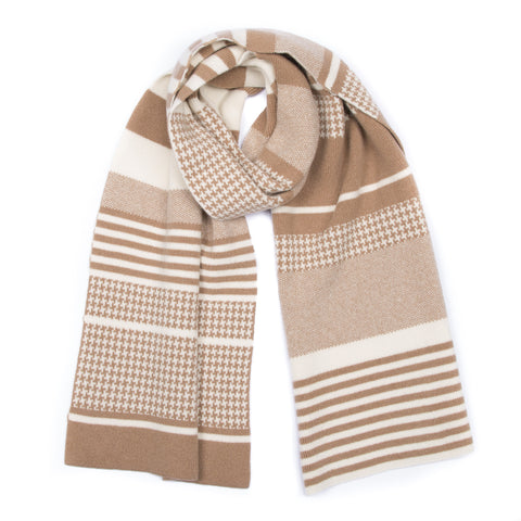 camel pattern houndstooth made in scotland luxury blanket scarf