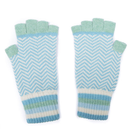 CHEVRON FINGERLESS GLOVES MINT MIX