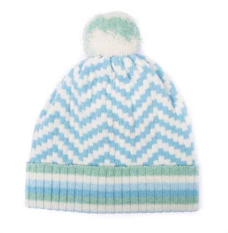CHEVRON BOBBLE HAT MINT MIX