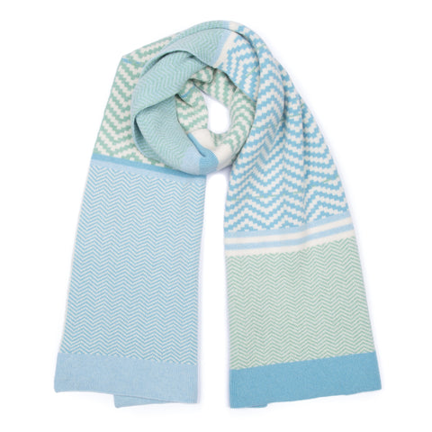 made in scotland lambswool merino luxury chevron blanket scarf