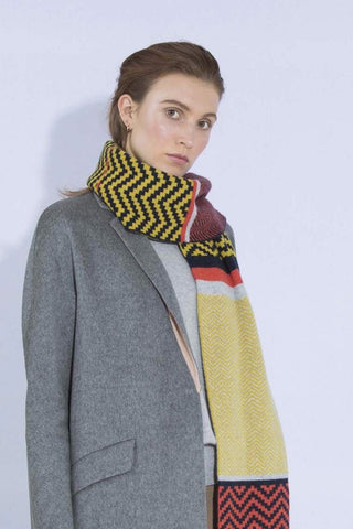 CHEVRON BLANKET SCARF MUSTARD MIX