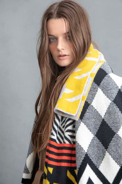 ARGYLE BLANKET SCARF BLACK & WHITE