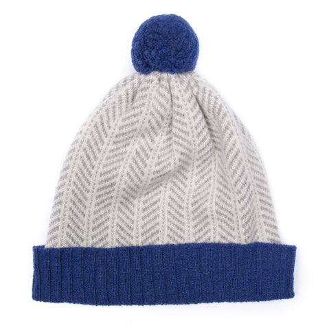 made in scotland knitwear luxury hat pom pom merino lambswool blue