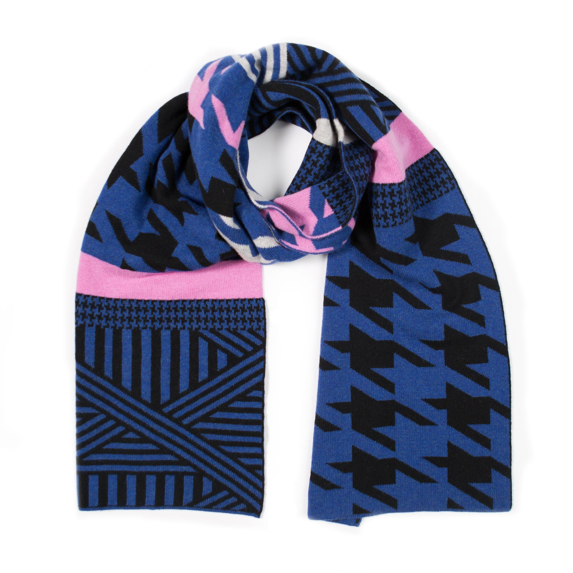 HOUNDSTOOTH SCARF BLUE & BLACK - GREEN THOMAS
