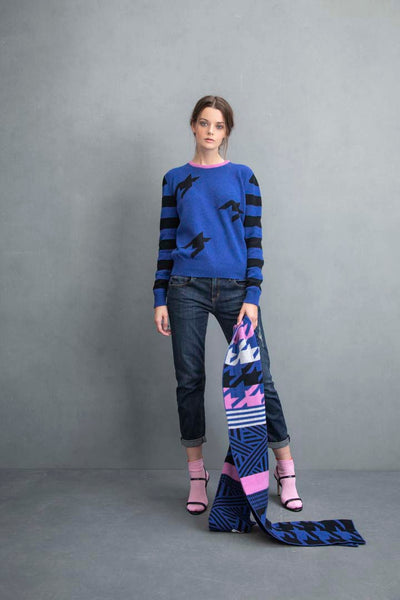 STRIPE HOUNDSTOOTH LOGO JUMPER BLUE & BLACK