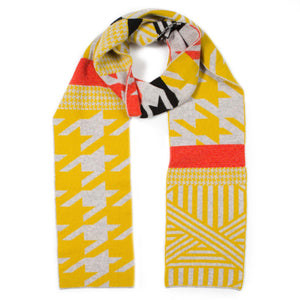 HOUNDSTOOTH SCARF MUSTARD & GREY - GREEN THOMAS