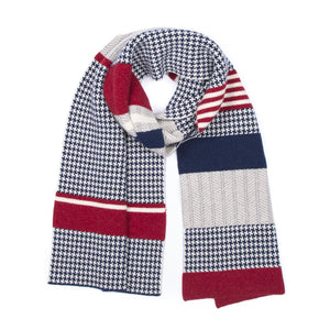 HOUNDSTOOTH BLANKET SCARF NAVY & RED - GREEN THOMAS
