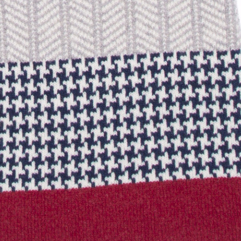 HOUNDSTOOTH BLANKET SCARF NAVY & RED