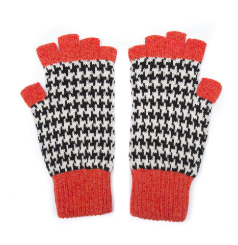 HOUNDSTOOTH FINGERLESS GLOVES ORANGE