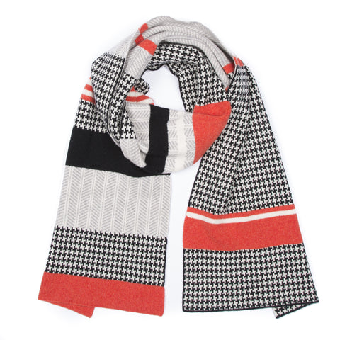 HOUNDSTOOTH BLANKET SCARF ORANGE
