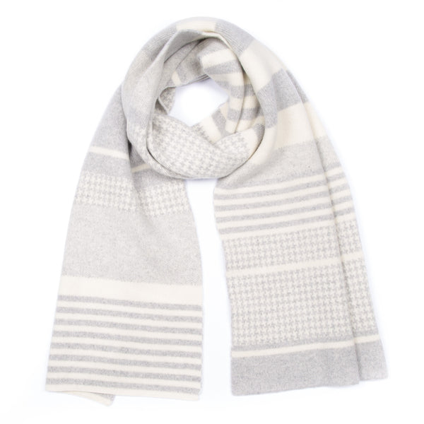 grey cream luxury made in scotland blanket scarf houndstooth pattern