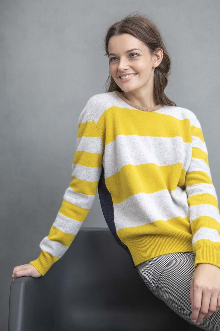 STRIPE JUMPER MUSTARD & GREY - GREEN THOMAS