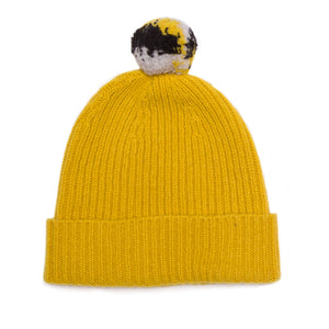 MUSTARD BOBBLE HAT - GREEN THOMAS