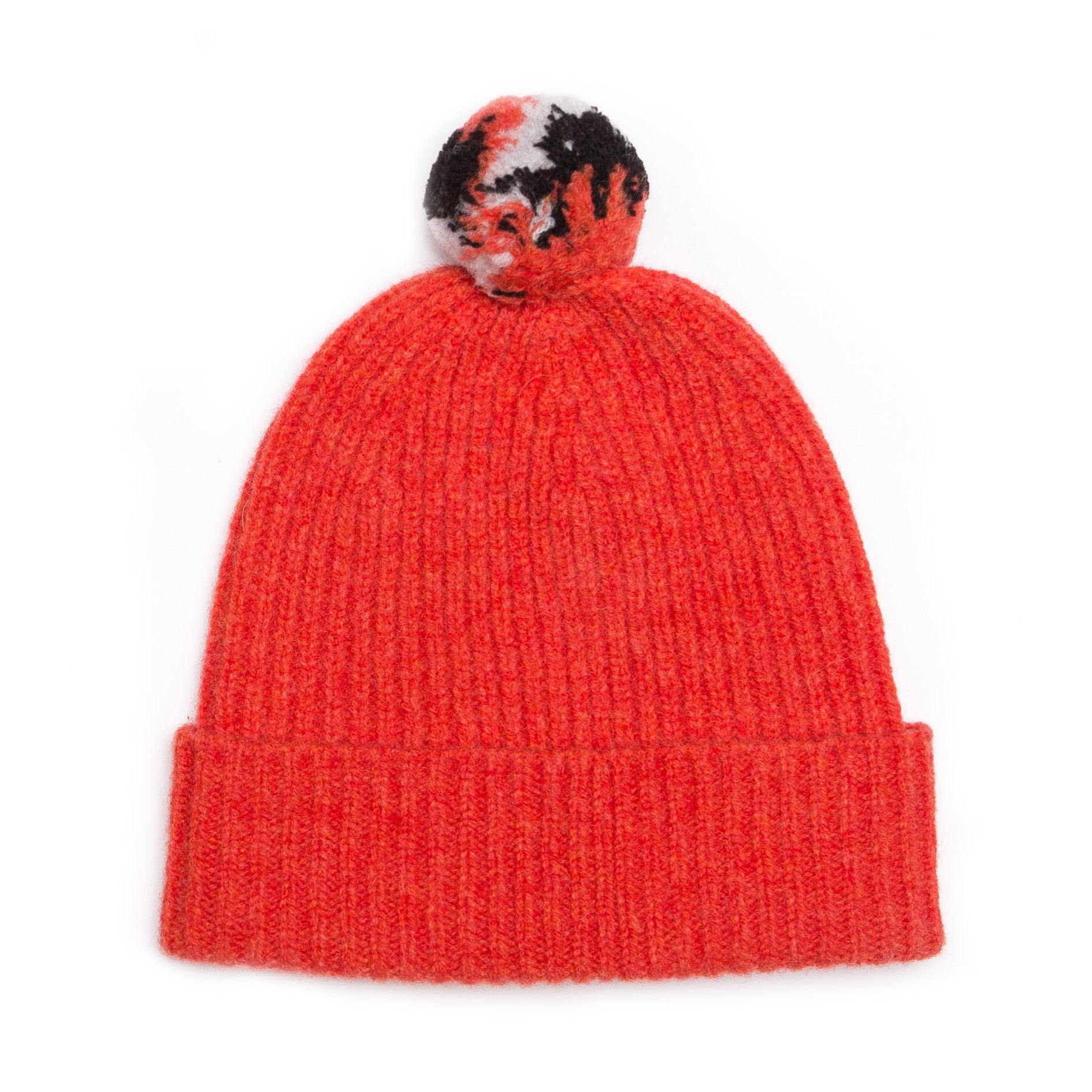 ORANGE BOBBLE HAT - GREEN THOMAS