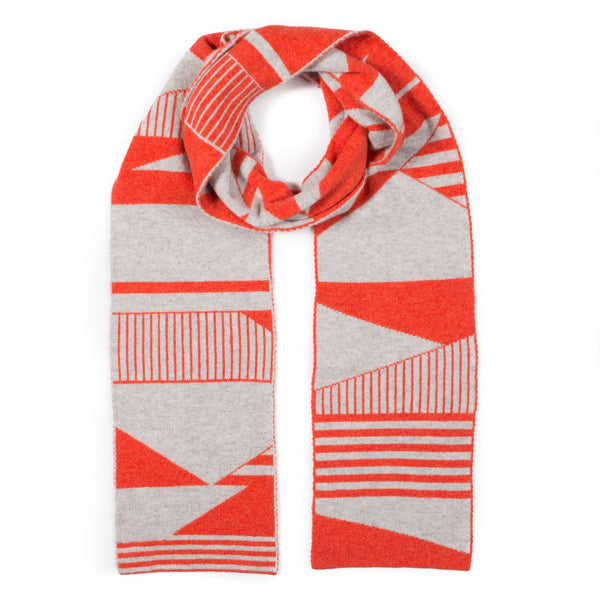 SEMAPHORE BLANKET SCARF ORANGE & GREY