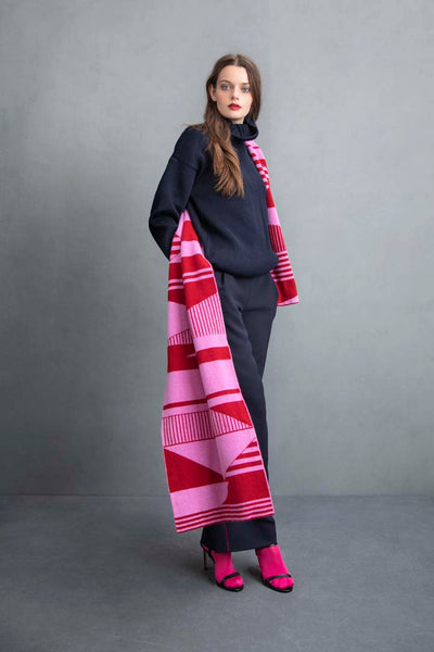 SEMAPHORE BLANKET SCARF PINK & RED