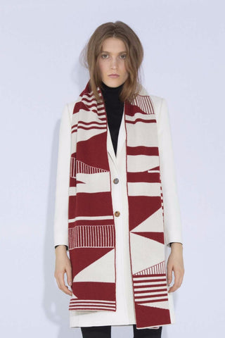 SEMIPHORE BLANKET SCARF RED & WHITE