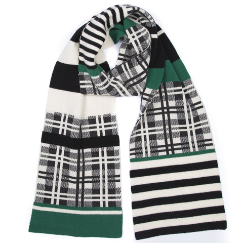 TARTAN AND STRIPED SCARF GREEN