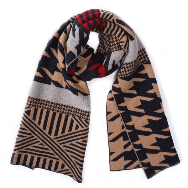 HOUNDSTOOTH SCARF CAMEL NAVY RED
