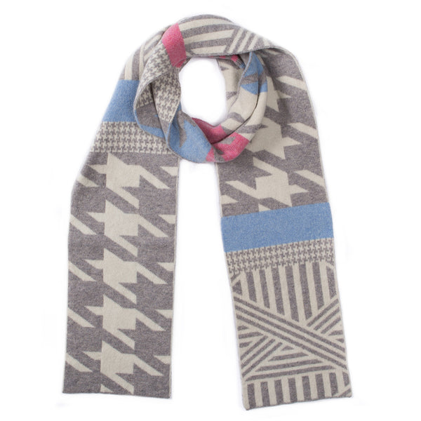 HOUNDSTOOTH BLANKET SCARF DENIM MIX