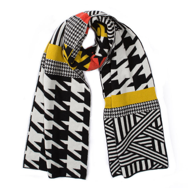 HOUNDSTOOTH BLANKET SCARF MUSTARD & ORANGE