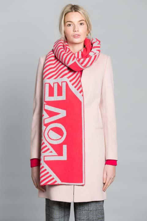 LOVE BLANKET SCARF CORAL SILVER - GREEN THOMAS