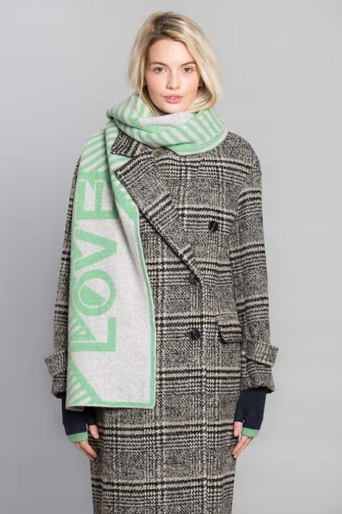 LOVE BLANKET SCARF MINT SILVER - GREEN THOMAS