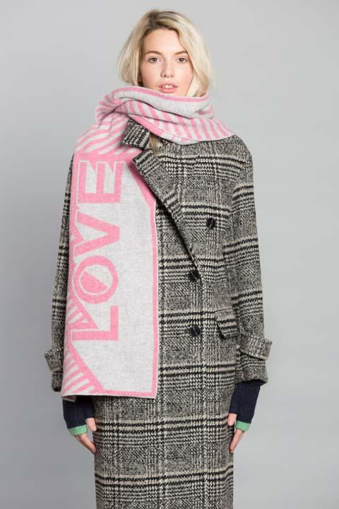 LOVE BLANKET SCARF PINK SILVER - GREEN THOMAS