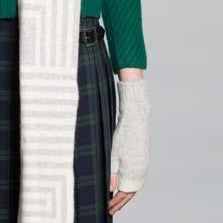 FINGERLESS GLOVE SILVER WHITE - GREEN THOMAS