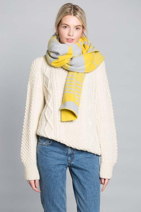 SEMAPHORE BLANKET SCARF YELLOW SILVER - GREEN THOMAS