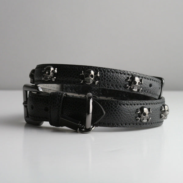 Graham Dog Collar - Black Skull & Crossbones