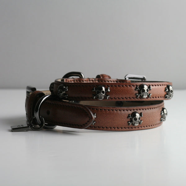 Gregory Dog Collar - Cognac Skull & Crossbones