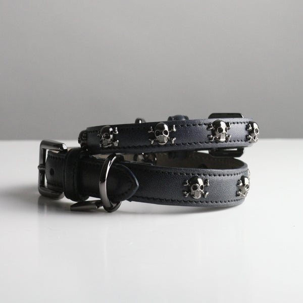 Gregory Dog Collar - French Navy Skull and Crossbones