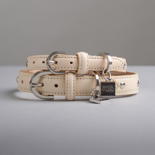 Gloria & Florence Dog Collar and  lead set - Vanilla
