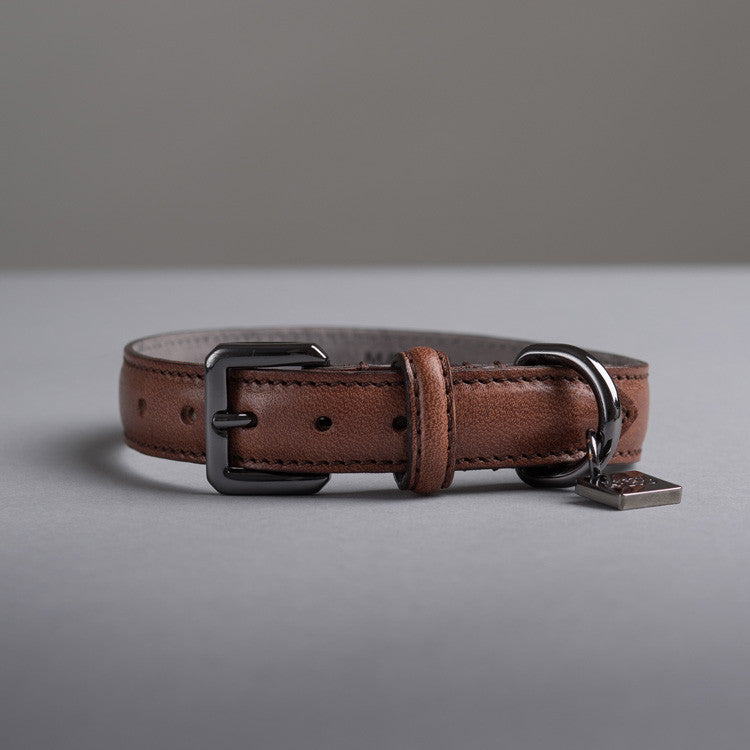 Maison Le Lou Luxury Leather dog collar