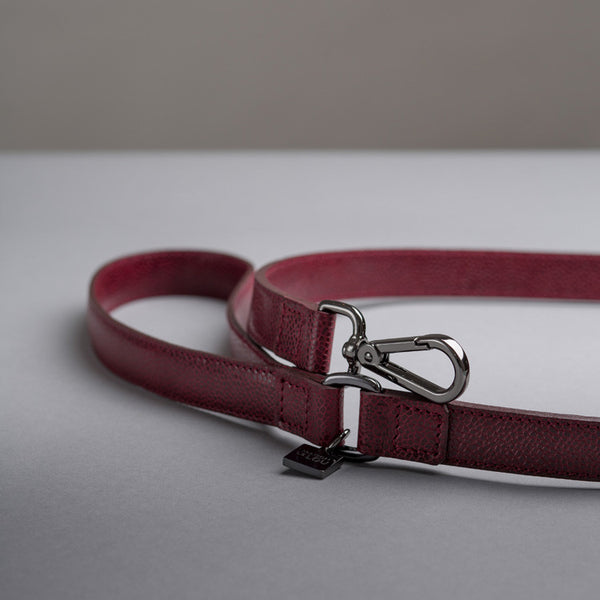 Maison Le Lou Luxury Leather Dog Lead - Fergus Wine