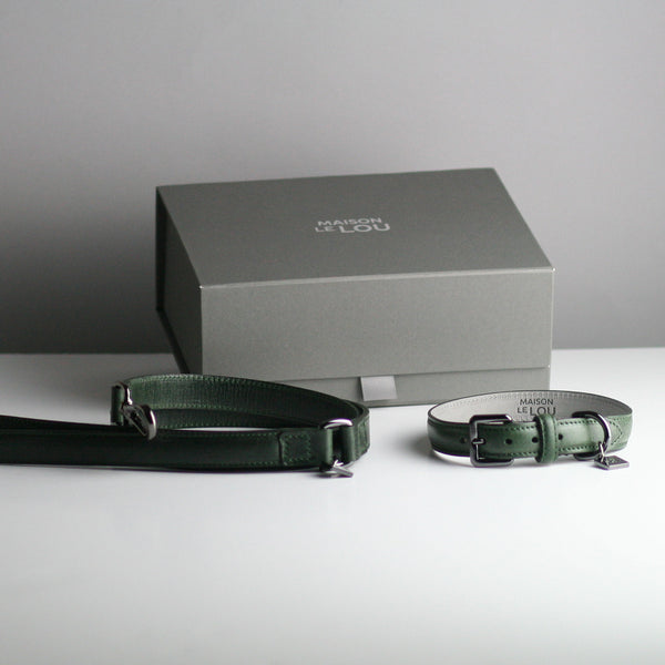 Gregory & Frank Dog Collar and lead set - Forest