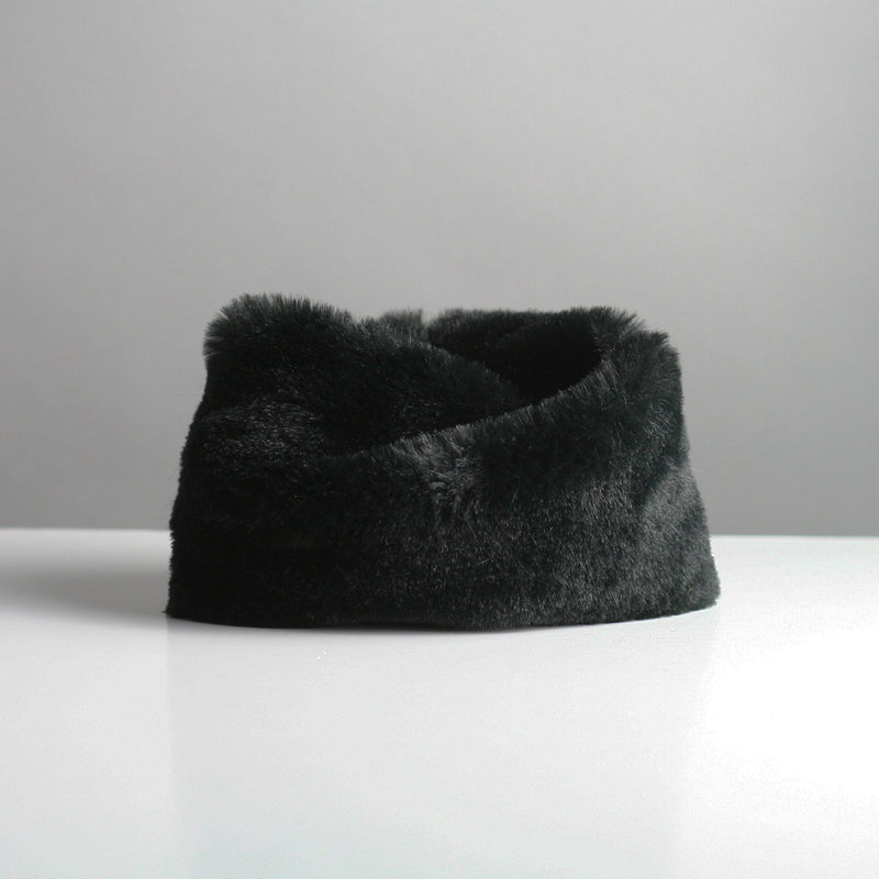 Snookie - Faux Fur Snood Neck Warmer - Black Gloss
