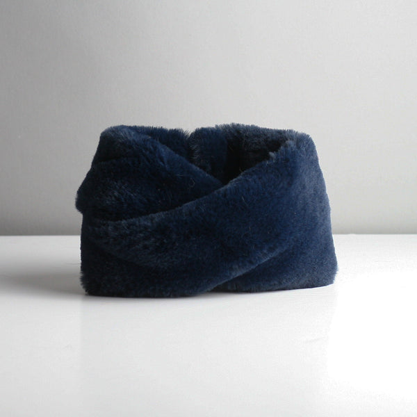Snookie - Faux Fur Snood Neck Warmer - Navy