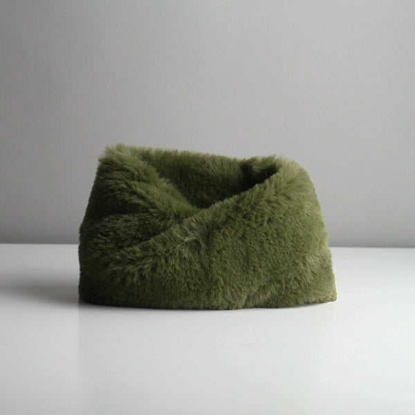 Snookie - Faux Fur Snood Neck Warmer - Olive