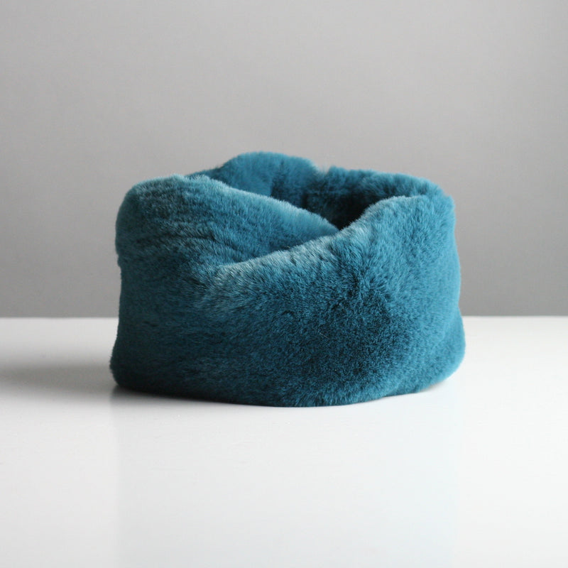 Snookie - Faux Fur Snood Neck Warmer - Petrol Blue