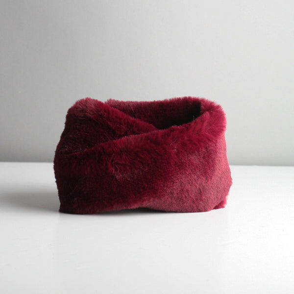 Snookie - Faux Fur Snood Neck Warmer - Wine