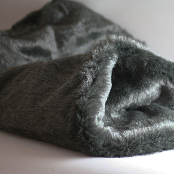 Pookie - Faux Fur Burrow Sleeping Bag - Dark Grey